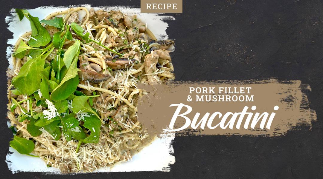 Pork Fillet and Mushroom Bucatini using our famous farm fresh pork fillets.
